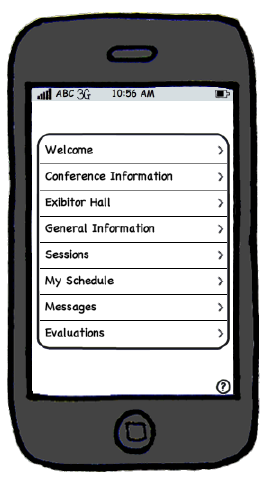My wireframe for the conference app