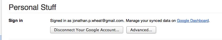 Chrome Settings : Personal Stuff