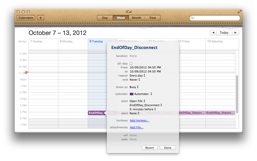 iCal set time and date for automator application run