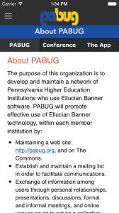 PABUG About Screen